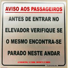 Placa Aviso Aos Passageiros Lei Municipal 12722/98