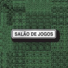 Placa Sinalização SALÃO JOGOS - Alumínio - 5x25 cm Superplacas